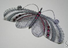 Brooch for Martina. Lace Heart, Lace Jewelry, Bobbin Lace, Lace Detail, Tatting, Butterfly, Brooch, Christmas Ornaments, Butterflies