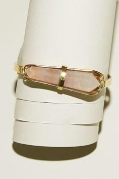 Laurel Patrick Virginia Hinge Bracelet in Brass with Rose Quartz