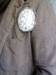 Hand made fabric fob watch brooch by the crafte nook at etsy