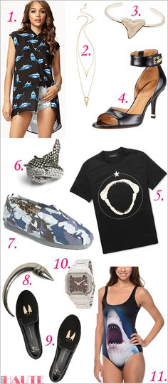 Shark Week style - fashion and accessories Shark Print High-Low Shirt, Jules Smith Shark Necklace, Fashionology The Upper Shark Tooth Casing Bangle, Givenchy High-Heel Ankle-Wrap Shark-Tooth Sandal, Givenchy Shark Teeth-Print Cotton T-Shirt, nOir Natalie the Shark Cubic Zirconia Pave and Rhodium Plated Shark Ring, TOMS 'Classic - Shark Week' Slip-On (Women) (Limited Edition), GIVENCHY Large Cone Shark Brass Mono Earring, Giuseppe Zanotti Sharks Tooth embellished suede slippers, Freestyle®…