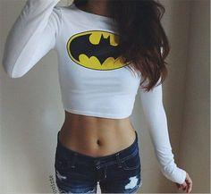Fashion Sexy Women Clothing Batman Long Sleeve Crop top tshirt crop top for women Belly Shirts, Batman Shirt, Cool Outfits, Fashion Outfits, Geek Fashion, Cute Crop Tops, Textiles, Look At You, Long Sleeve Crop Top