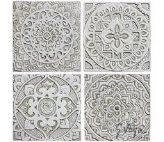 4 Mandala Wall Hangings Made From Ceramic Set Of Art