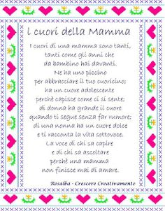 Poesia: I cuori della mamma Foto Baby, Mom Day, Flower Fairies, Nursery Rhymes, Diy And Crafts, Education, Biscotti, Nostalgia, Hot