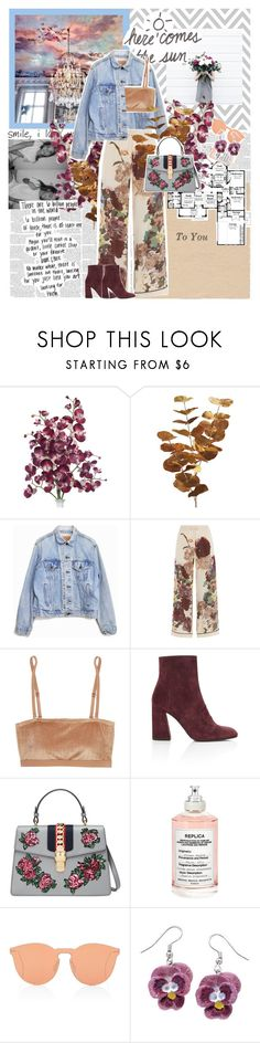 """Untitled #518"" by inkcoherent ❤ liked on Polyvore featuring Pier 1 Imports, Levi's, Valentino, Base Range, Stuart Weitzman, Gucci, Maison Margiela, Illesteva and Natures Jewelry"