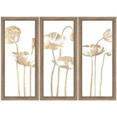 Dreamy Creamy Flowers Floral Wall Art, Set of 3