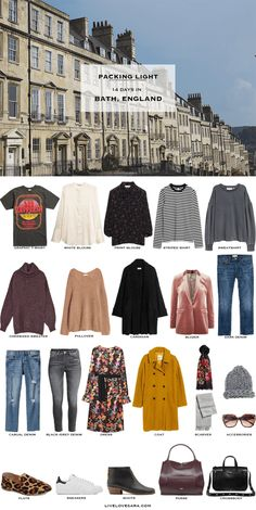 What to Pack for Bath, England Packing Light List This request is for a couple of girlfriends taking a Summer Packing Lists, Fall Packing, Packing For Europe, Packing Light, Travel Packing, Travel Europe, Luggage Packing, Travel Uk, Packing Tips