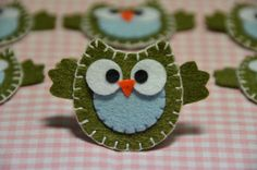 All different colors of handmade felt owls (6 pieces for $5.89)