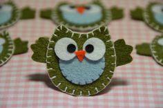Set of 6pcs handmade felt owldark moss FT890 by AsecInc on Etsy