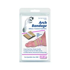 Arch Bandage -   Ease fallen arches flat feet and related heel, toe, ball-of-foot, or bunion pain. This soft elastic bandage gently compresses the midfoot to provide support and stability. Makes shoes more comfortable Interchangeable for left or right foot.