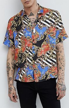 14c6b398e3 On my wish list : ASOS DESIGN oversized chain print shirt with revere  collar from ASOS