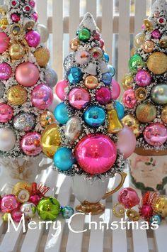 christmas bottle brush tree pink glitter holiday sparkle bottlebrush ornament tree