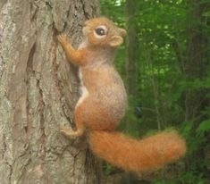 Red Squirrel, needle felted animal via Etsy.
