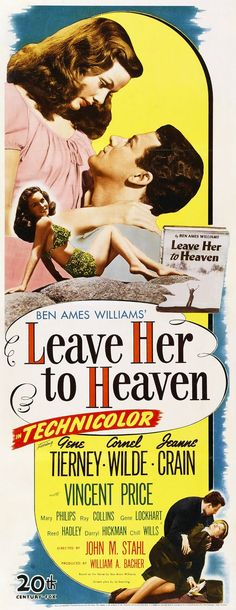 Leave Her to Heaven Century Fox, Insert X Film Noir. Starring Gene Tierney, - Available at Sunday Internet Movie Poster. Old Movie Posters, Classic Movie Posters, Cinema Posters, Movie Poster Art, Classic Movies, Cinema Film, Vintage Posters, Gene Tierney, Old Movies