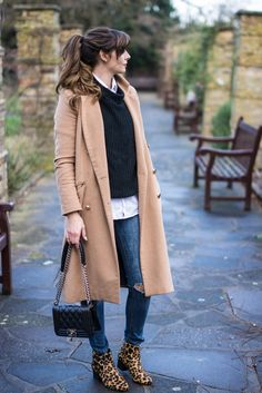 EJSTYLE - River Island Camel Coat, Next leopard print ankle boots, Bershka ripped knees skinny jeans, boohoo black jumper, white shirt, OOTD, winter outfit