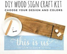 DIY Wood Sign Kit | Various Designs | Plank Stained Board Wood Signs For Home, Diy Wood Signs, Custom Wood Signs, Custom Stencils, Stencil Diy, Stencil Designs, Diy Workshop, Stain Colors, Craft Kits