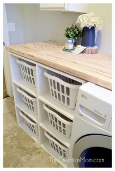 Laundry Basket Shelves, Laundry Room Tables, Mudroom Laundry Room, Laundry Sorter, Laundry Room Layouts, Laundry Room Remodel, Farmhouse Laundry Room, Small Laundry Rooms, Laundry Room Design