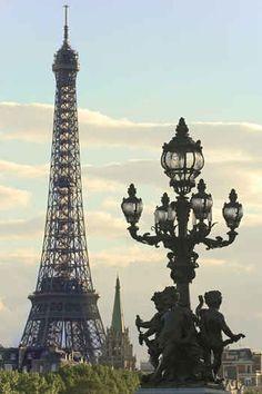 Eiffel Tower. La Tour Eiffel ou La Dame de fer (the Iron Lady). Happy 125th birthday madame.