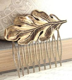 Hair Comb Antique Gold Brass Leaf Comb Woodland