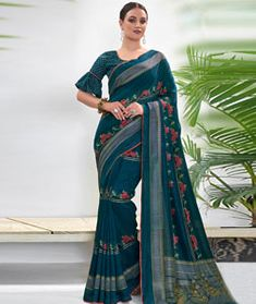 Chanderi Silk Saree Chanderi Silk Saree, Silk Sarees, Long Cut, Blouse Online, How To Dye Fabric, Color Shades, Festival Wear, Blue Fabric, Teal Blue