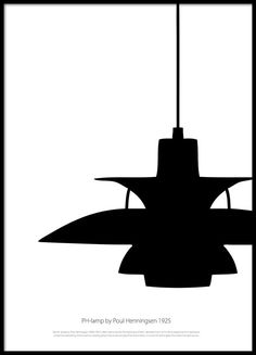 Flot plakat med klassisk designerlampe af Poul Henningsen.