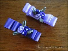 Easy Double Ribbon Spring Hair Bow Clips at TheFrugalGirls.com #hairbows #barrettes