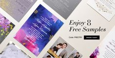 shutterfly allows 8 free samples of their wedding invitations. check it out