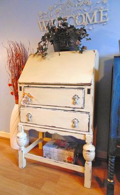 Antique Writing Bureau Desk Hand Painted in Annie Sloan Cream & Distressed Shabby Chic