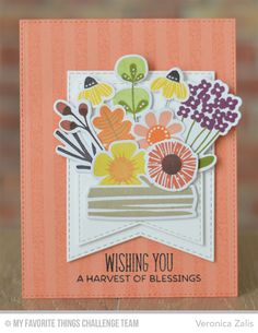 Fall Florals, Distressed Stripes Background, London Mouse, Fall Florals Die-namics, Stitched Jumbo Fishtail Banner STAX Die-namics - Veronica Zalis  #mftstamps