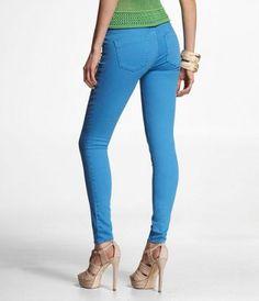 #ExpressJeans STELLA COLORED JEAN LEGGING-TROPIC BLUE at Express