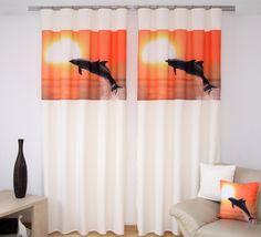 Krémové záclony za výhodné ceny s oranžovou potlačou delfína - domtextilu. Curtains, Shower, Home Decor, Rain Shower Heads, Blinds, Decoration Home, Room Decor, Showers, Draping