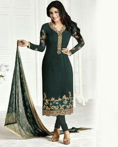 Dark green long suit with resham embroidery on hemline 1. Dark green georgette embroidered long suit2. Resham and sequins embroidery on yoke with golden gotta border3. Comes with matching santoon bottom and chiffon dupatta4. Can be stitched upto size 44 inches and length 48 to 50