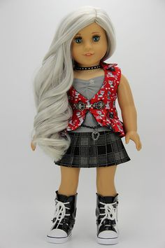 Handmade 18 inch doll clothes - Red and black 5 piece pleated skirt outfit (824)