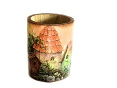 Country Pencil Holder with bird houses decoupage by verdesedano