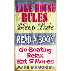 Lake House Rules is a Lakehouse Outfitters custom design.  Available in wood or metal and four sizes.Select both from the drop down menus:  Size and TypePriced by size - prices will adjust as you select larger sizes.