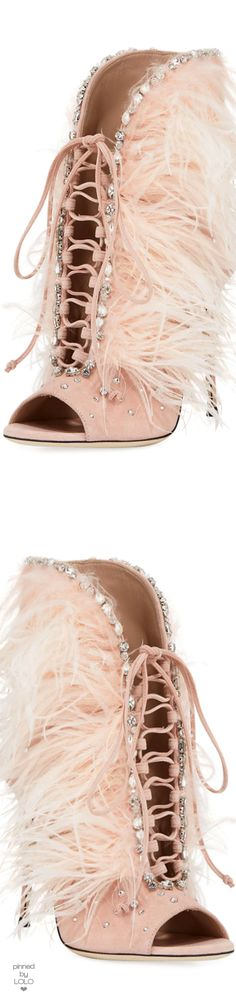 Giuseppe Zanotti Jeweled Feather Suede Lace-Up Bootie.