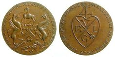 """Britain: Lancashire, Manchester Halfpenny Condor Token, 1793, East India Company. Town arms of Manchester. (Note Griffins and little camel, top). ""Manchester Promissory Halfpenny"", ""1793"" in exergue / Bale mark of the East India Company."