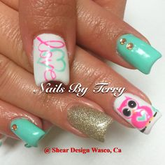 Owl gel nails with love...