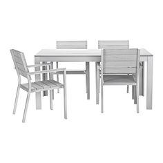 FALSTER Tisch+4 Armlehnstühle/außen IKEA Die Streben aus Polystyrol sind witterungsbeständig und pflegeleicht.