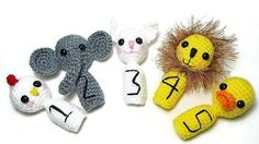 Crochet Finger Puppets - Counting Finger Puppets - Montessori Toys - Educational Puppets - Animal Counting Puppets -  Learning Toys