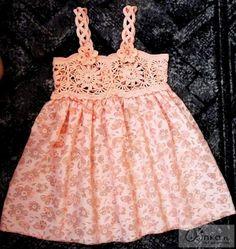 Croche pro Bebe: Little dresses in crochet fabric and beautiful d + Crochet Dress Girl, Crochet Girls, Crochet Baby Clothes, Crochet For Kids, Crochet Children, Crochet Dresses, Baby Tulle Dress, Diy Dress, Crochet Yoke