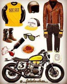 Scrambler y Racer Puebla! Cafe Racing, Cafe Racer Motorcycle, Motorcycle Outfit, Motorcycle Clothes, Motorcycle Equipment, Cafe Racer Style, Bike Style, Moto Style, Scrambler