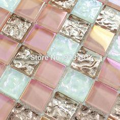 glass mosaic pink wall tiles kitchen back splash crystal glass tile backsplash HGT106 iridescent mosaic tiling bathroom floors