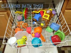 Cleaning bath tub toys in the dishwasher.  SO smart!