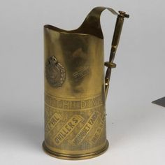 Trench art jug created by a sapper in the Royal Engineers whilst he was manning an underground telephone exchange in Ypres.