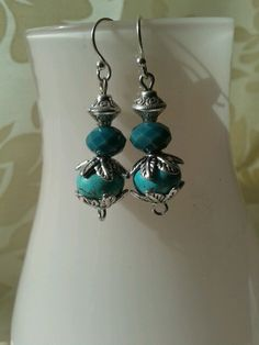 """Silver earrings """"Blue and silver"""" by Tanja klaassen for BlinQBlinQ.nl"""
