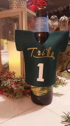 SALE Tribe Football Jersey bottle coolers, Tribe Cozies ,Your name on a neoprene jersey Cooler, William and Mary gift idea,