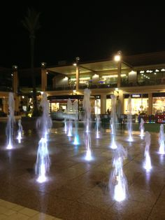 Plaza Central La Zenia Boulevard. The children love trying to avoid the dancing waters.