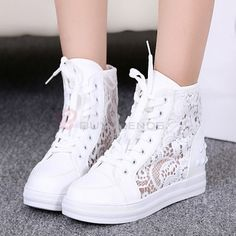 Leisure Lace Hollow Out Lace Up Breathable High Shoes Fashion Pure Color Casual Shoes on buytrends.com