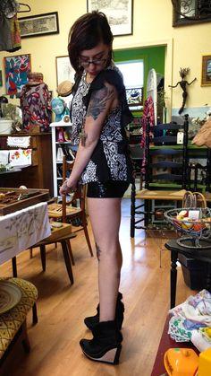 Short shorts and high heels