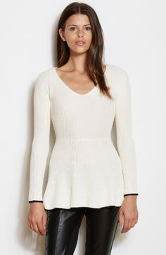 Women's #Fashion #Clothing: Blouses, #Tops, Shirts, and #Sweaters: Armani Exchange Womens Ribbed Peplum Contrast Sweater in White with Black Trim: Clothes